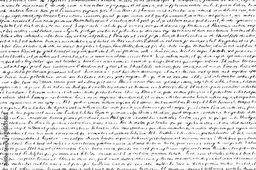 Obraz Grunge texture of an old illegible manuscript. Monochrome background of half-erased handwritten text. Overlay template. Vector illustration - fototapety do salonu