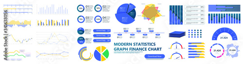 Modern infographic template with stock diagrams and statistics bars, line graphs and charts for finance report Canvas Print