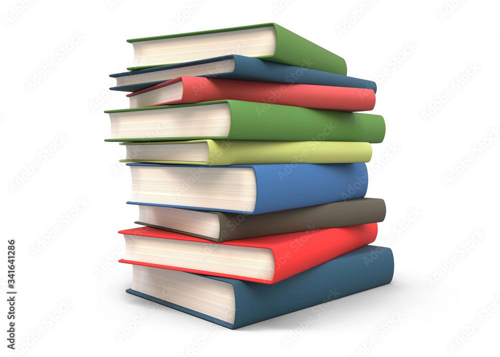 Fototapeta Stack of books isolated 3d rendering