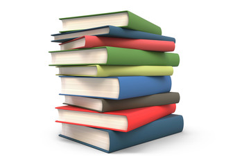 Stack of books isolated 3d rendering