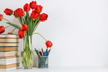 Red Tulips In A Vase, Books An...