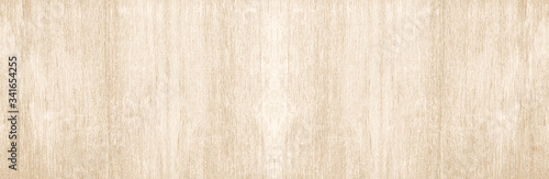 Wide Table top view of wood texture in beech white light panoramic background Canvas