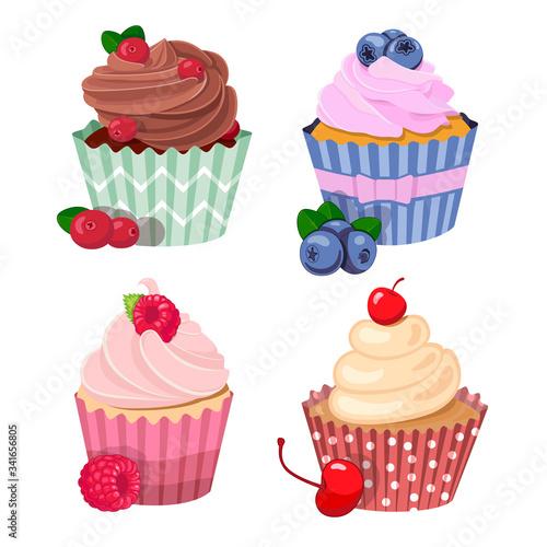 Vector berry sweet cupcake set Canvas Print