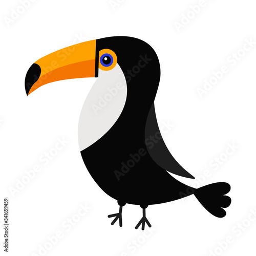 Toucan Toco Big yellow beak icon. Beautiful Exotic tropical bird. Zoo baby animal collection. Cute cartoon kawaii baby character. Decoration element. Flat design. White background. Isolated Fototapete