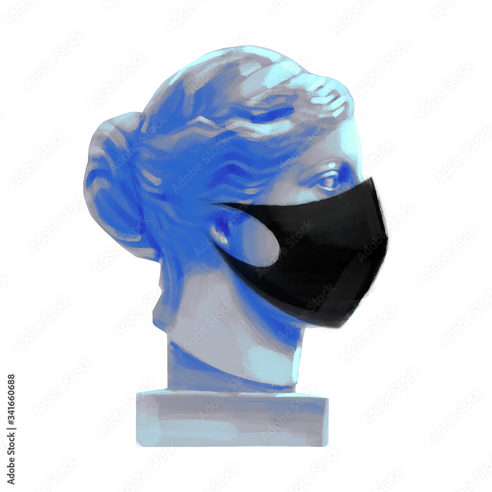 Fototapeta Venus de Milo head sculpture in the side view wearing black protective mask