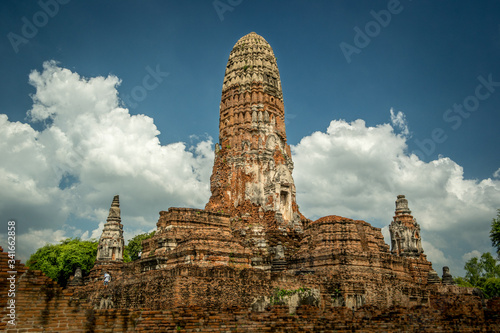 Low Angle View Of Temple Against Cloudy Sky At Ayuthaya Canvas Print