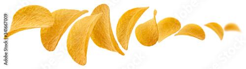 Potato chips levitate on a white background Canvas