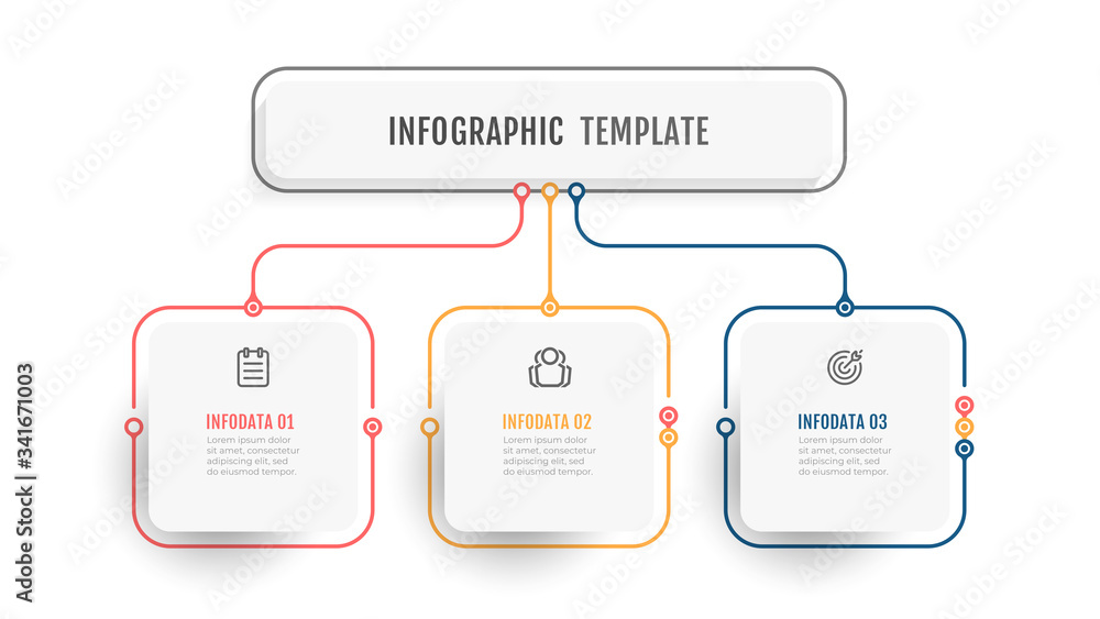 Fototapeta Business infographic template. Thin line design label with icon and 3 options, steps or processes.