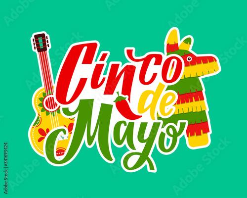 Cinco de Mayo - May 5, federal holiday in Mexico. Cinco de mayo. Hand drawn lettering phrase. Cinco de mayo poster with guitar and decoration vector illustration design. Cinco de Mayo, Mexican fiesta, Wall mural