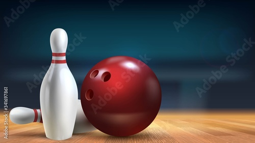 Red shiny ball and skittles close-up in a bowling alley on a wooden floor with b Fototapeta
