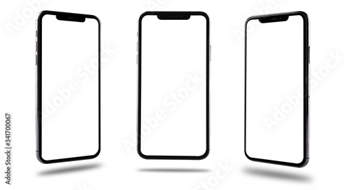 Foto Smartphone mobile mockup blank screen three position front and side