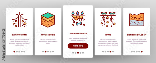 Soil Ground Research Onboarding Icons Set Vector Fototapeta