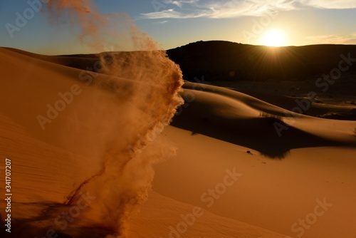 Canvas Print Sand Dunes In Desert Against Sky