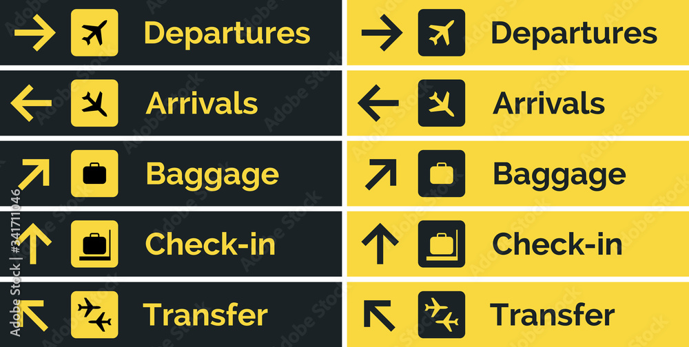Fototapeta Airport sign departure arrival travel icon. Vector airport board airline sign, gate flight information