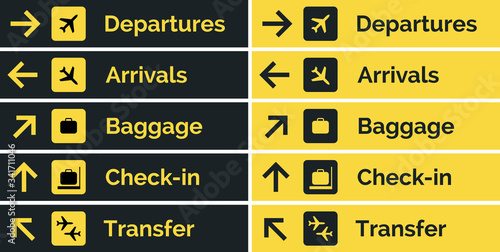 Fotografia Airport sign departure arrival travel icon