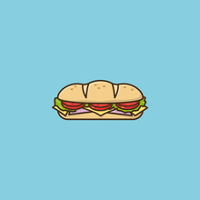 Hoagie Or Sub With Tomato, Lettuce, Ham, Cheese Vector Illustration  Hoagie Day On May 5th