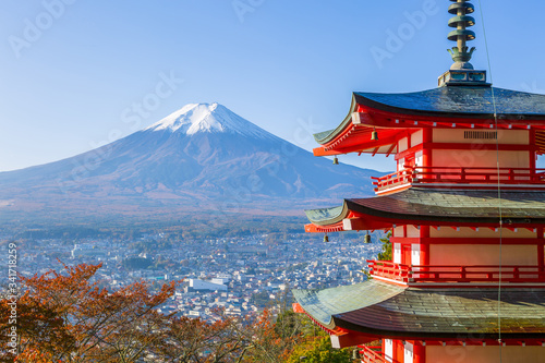 Fototapety, obrazy: Fuji with Chureito Pagoda in autumn, Fujiyoshida, Japan