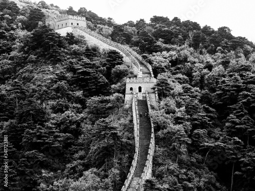 Fototapeta High Angle View Of Great Wall Of China And Trees