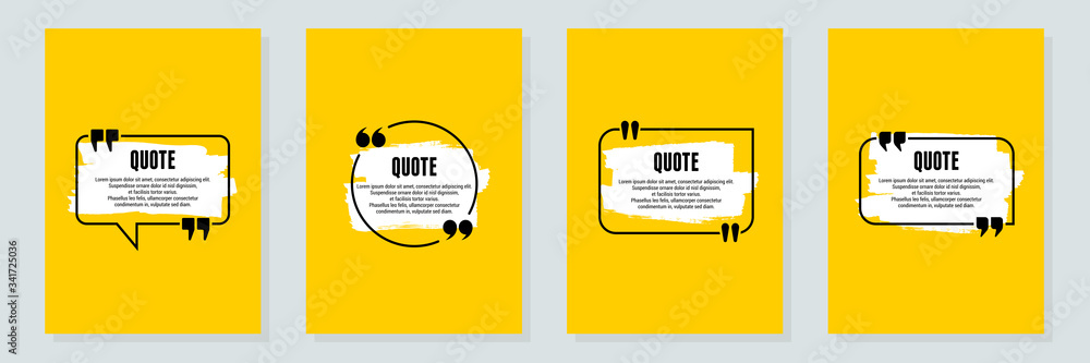 Fototapeta Quote frames blank templates set. Text in brackets, citation empty speech bubbles, quote bubbles. Textbox isolated on color background. Vector illustration
