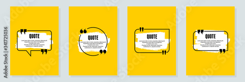 Quote frames blank templates set. Text in brackets, citation empty speech bubbles, quote bubbles. Textbox isolated on color background. Vector illustration