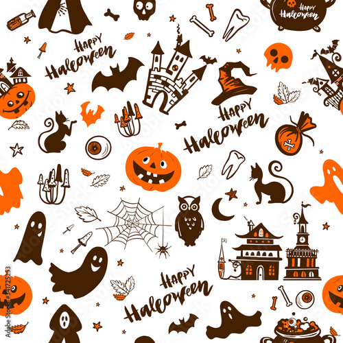 Valokuva On a seamless pattern, raster illustration depicts the symbols of the holiday Halloween: bat, towers, pumpkins, spider web with spider