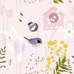 Fototapeta Optyczne powiększenie Spring garden seamless pattern with hand drawn springtime florals