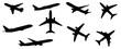 Set of airplane shadow,flat