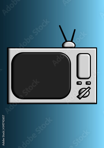 Photo Vector image of a tv with antenna place for text