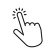 Hand clicking icon on white background. Finger pointer vector illustration.