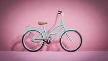 Retro Dutch Mint Bicycle On A Pink Vintage Background