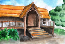 .watercolor Drawing Old House,...
