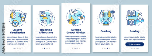 Photo Life coaching onboarding mobile app page screen with concepts