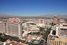 Caesars Palace And The Strip Seen From The Eiffel Tower Replica At The Paris Hotel And Casino  Las Vegas Nevada  USA