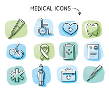 Set Of Different Medical Icons And Objects, Such As Doctor, Fetus, Wheelchair, Clipboard, Heart, Blood, Thermometer. Hand Drawn Cartoon Sketch Vector Illustration, Marker Coloring On Blue Green Tiles
