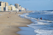 The Beautiful Beach And Ocean Front At Virginia Beach.