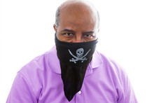 African American Man With Self Made Pitate Bandanna.  COVID 19 Concept Of Lockdown, Flatten The Curve, Social Distancing, State Of Emergency, Corona Virus.