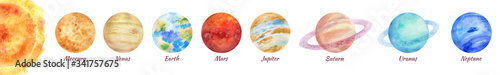 Fotografía A bright colorful watercolor illustration of a solar system on a white background