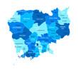 Cambodia map. Cities, regions. Vector