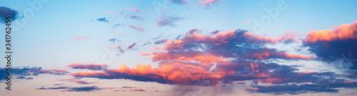 Obraz Skyline cloudscape dramatic beautiful rainy clouds at sunset - fototapety do salonu