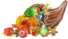 Watercolor Cornucopia Filled W...
