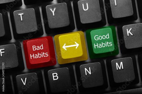 Stampa su Tela Three keys conceptual keyboard - Bad Habits and Good Habits keys with arrow