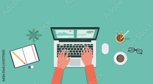 Obraz work from home and new normal concept on top view, remote working, freelance workplace with laptop computer, pencil, rubber, glasses, notebook, plant and coffee, vector flat illustration - fototapety do salonu