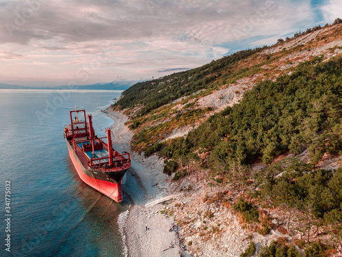ship aground in the black sea Canvas Print