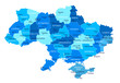 Ukraine map. Cities, regions. Vector