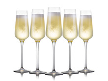 Set Of Luxury Champagne Glasses In A Row Isolated On A White Background