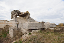 The Ruins Of German Bunker In The Beach Of Normandy, France