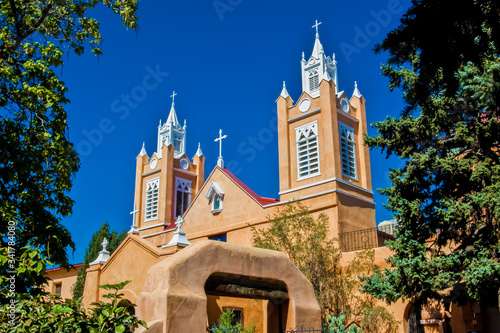 San Felipe de Neri Catholic Church, Old Town Plaza,Albuquerque, New Mexico, USA Canvas Print