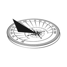 Black Sundial In Perspective. Sun Clock