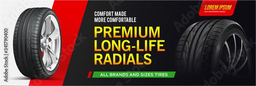 Fototapeta Realistic tire banner