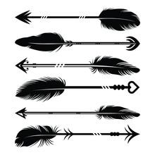 Hand Drawn Feather Arrow Silho...